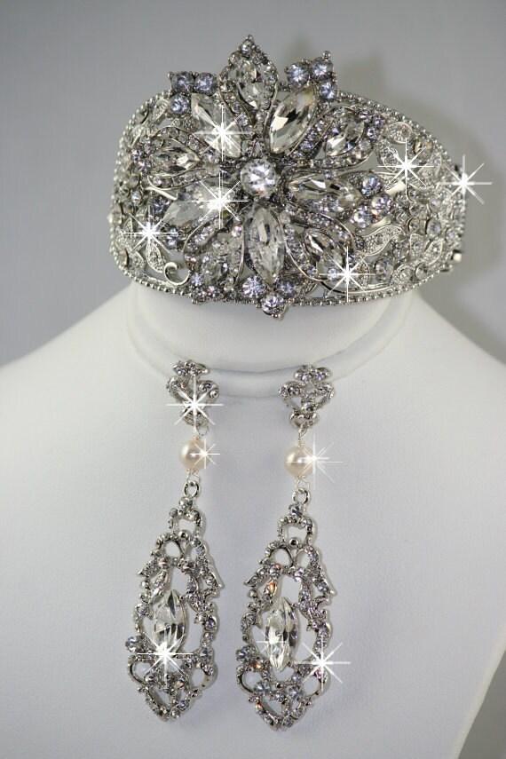Markiza Wedding Chandelier Bridal Earrings And Bridal Cuff