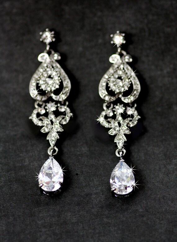 Sasha Swarovski crystal and pearl bridal earrings