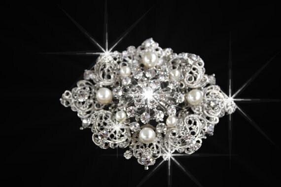 Barbie Vitorian style Swarovski crystal and pearl elegant bridal Brooch , Barrett or hair comb