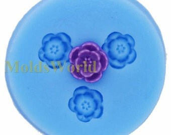 A153 Mini Flower Cabochon 3 Cavities Flexible Silicone Mold Mould for Crafts, Jewelry, Scrapbooking,  (resin, pmc, polymer clay)
