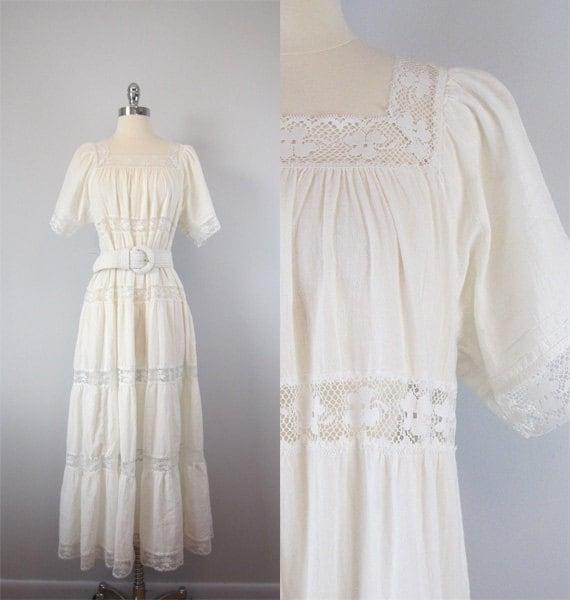 Vintage Maxi Dress. White. Gauzy. Sheer. Boho. Summer. Boho Wedding. Peasant Dress. L/XL.