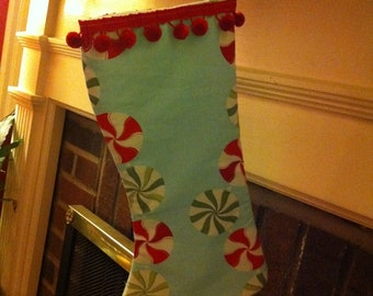 Peppermint candy print stocking