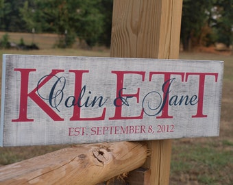 Wedding Established Sign. Personalized Family plaque