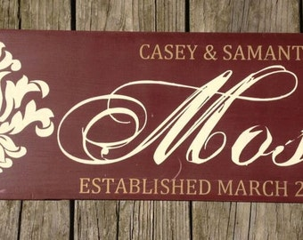 Personalized family name sign, established plaque