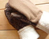 "Women's Felted Wool Mittens made from Wool Sweaters -  ""Maggie"""
