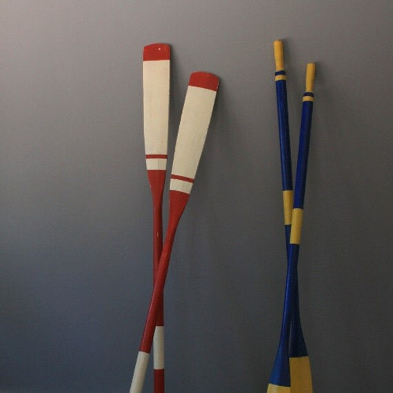 Red and White Vintage Boar Oars - Set of Two