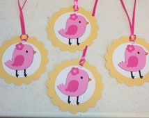 12 Little Birdie Pink Bird Favor Tags, Treat Bag tags, perfect for birthday parties or baby showers