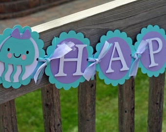Under the Sea Happy Birthday Banner, Happy Birthday Banner, Lavender and Aqua Birthday Banner, Under the Sea Birthday, Sea Name Banner