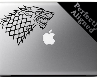 "Vinyl Decal - 7"" Game of Thrones inspired Direwolf style 2 House Stark Crest for Macbook, Laptop, Ipad, etc."