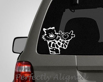 Calvin and Hobbes Inspired Heart Hands Car Decal