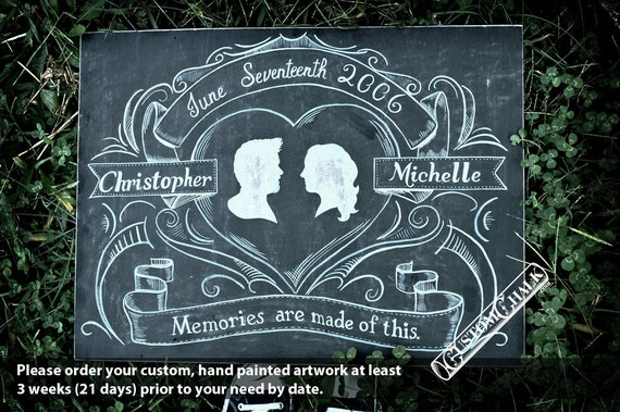 Personalized Silhouette Chalkboard Wedding Sign - Hand drawn