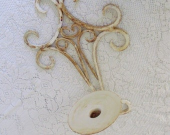Shabby Rusty Candle Sconce Hand Painted White