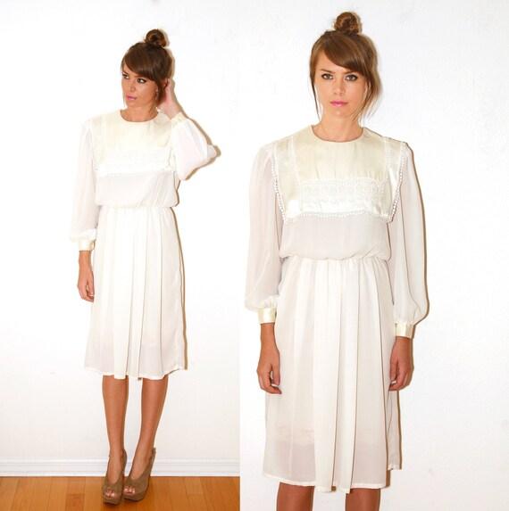 Vintage  Dolly Cream White Dress With Satin Bib Lace Trim Sheer Dress Medium