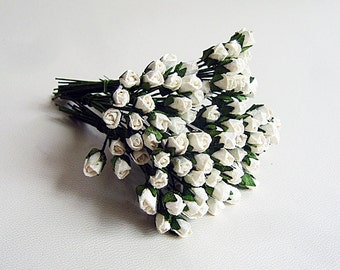 100 pcs - White Mulberry Paper Micro Rose buds - Wholesale pack