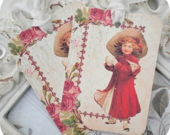 Christmas Victorian Girl Tags  - Set of 6