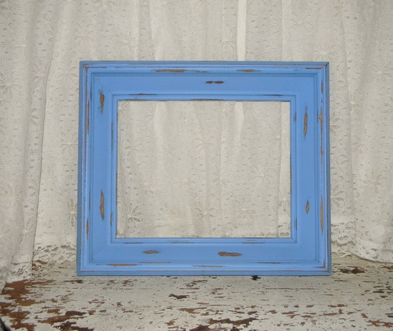 Cottage Chic Picture Frame Reclaimed Vintage Frame Distressed Blue Beach Home Decor