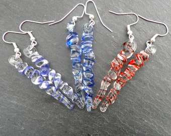 Icicles Jewelry Earrings Christmas Ornaments Dangle Winter Sterling Silver Blue Red Purple Icicles