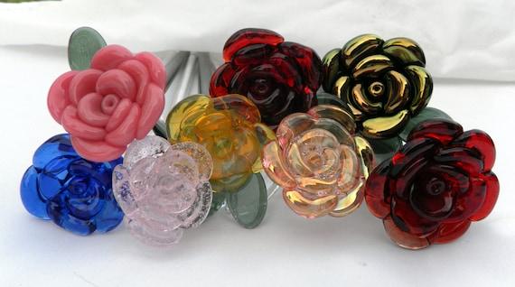 Rose Glass Flower Custom Long Stemmed Your Own Personalised Forever Untamed Rose