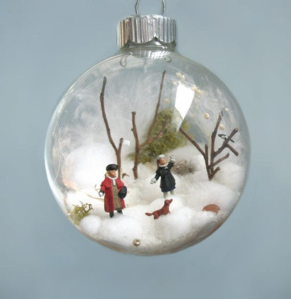 Victorian Sisters with a Dachshund and a Magpie Bird Winter Scene Glass Ornament, Girls, Wiener, Dog