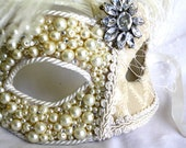 Bridal Wedding Formal Masquerade Mask in Ivory: Half Covered in Pearls/Crystals, other in Brocade w/ Birdcage Veil & Ostrich Feathers