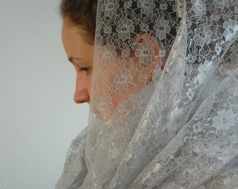 Made to order: Gothic Victorian scarf shawl cowl headscarf infinityscarf veil in romantic silver white lace. Bridal wedding classic
