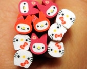 10 pcs - My Melody / Hello Kitty Collection (2.5cm long) - Nail Decoration Scrapbooking Flower Fimo Cane - Polymer Clay Cane