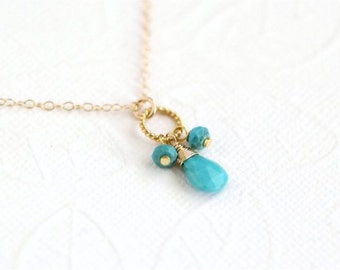 December Birthstone Necklace, Turquoise Faceted Pear Briolette and Rondelles, Vermeil Twisted Ring, Gold-filled Chain. Gift. N099.