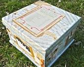 Teabox, LARGE Wood Cigar Box, Keepsake Box, Art Collage Box, Music Box, Musician Decoupage Ephemera Assemblage, 1940s Sheet Music, Artsy Box