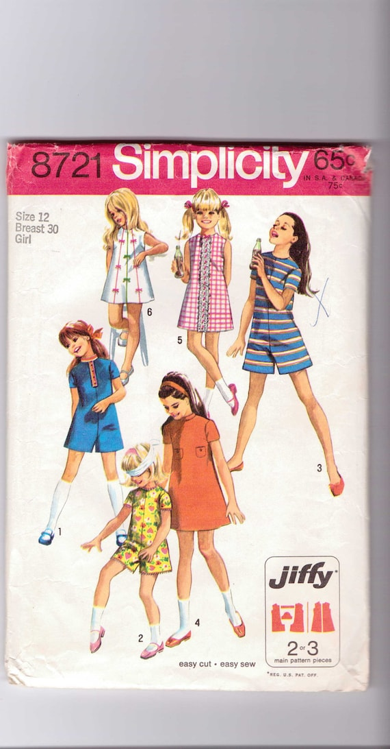 Simplicity Sewing Pattern 8721 Girls Jiffy Dress and Pantdress Size 12 Sale