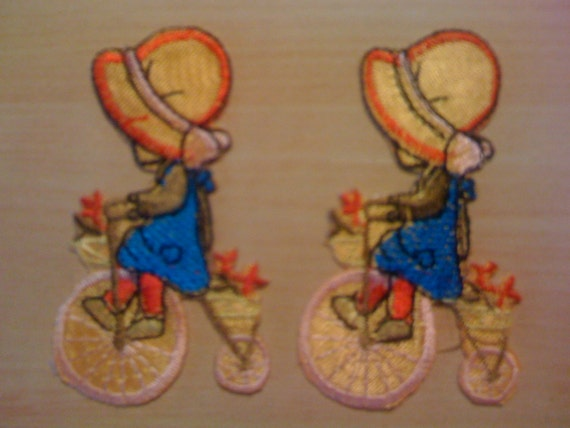 Two Girl with Bonnet Riding Bike Appliques A-2