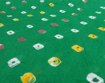 Indian Fabric - Cotton Fabric - Pure Cotton - Hand Dyed Bandhej or Bandhani fabric
