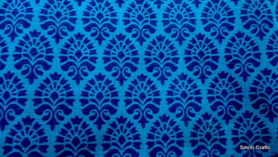 Cotton Fabric Indian Fabric Royal Blue And Blue Block