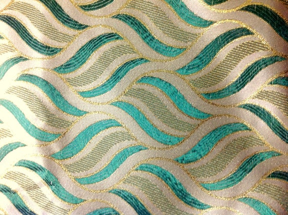 Reserved listing - Green and Creme Jacquard Fabric from India
