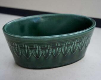 Mid century Modern Vintage Green Art Pottery Planter Oval