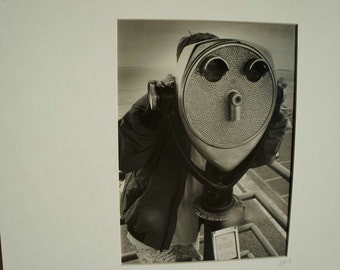 Vintage Black and White Photograph Child and Viewfinder Beach
