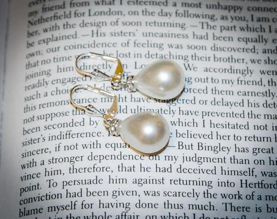 Jane Austen Georgian Regnecy Style Charlotte drop pearl Earrings