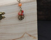 Peace, Orange and Red Necklace