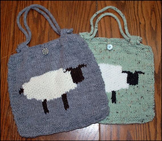 Intarsia Sheep Bag PDF Knitting Pattern by RavenswoodKnitdesign