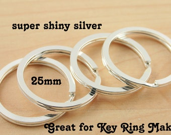 10 - Large Split Rings for Key Ring and Key Chains - Round, Heavy Duty, 25mm  Silver, Bronze, Gun Metal, Antique Copper