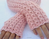 Womens knitting cable lace Fingerless gloves  pink rose Hand Warmers soft Hand Knitted merino wool
