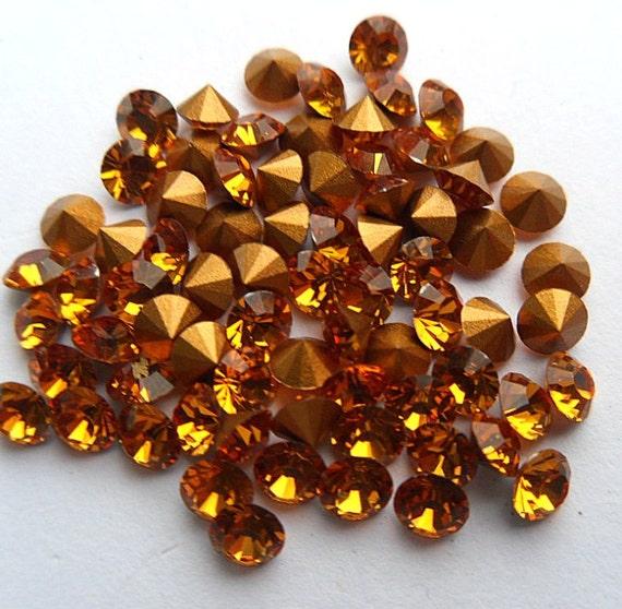 72 Topaz 29pp Swarovski Round Rhinestones-Loose Rhinestones-Bulk Rhinestones-Wholesale Rhinestones-Loose Crystals