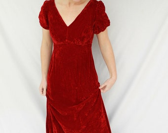 Gorgeous 1960s Crimson Red Crushed Velvet Empire Waist Dress with Puffed Sleeves Size Small - AS IS