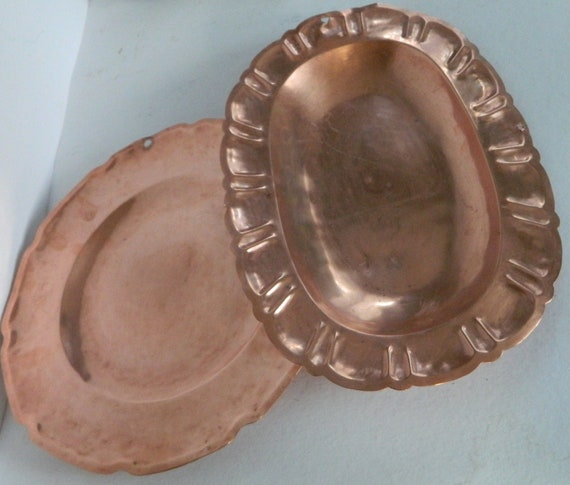 Antique French Copper Serving Plates (set of 2)