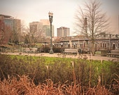 Landscape photograph, Portland Oregon, architecture, street scene, moody -  Along the Waterfront - 8x12 fine art photo