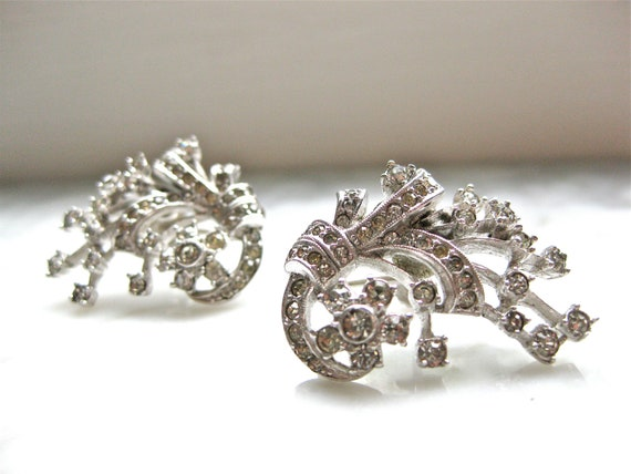 DO NOT BUY- Reserved for Chrissie Wedding Earrings Clear Rhinestone and Silver Vintage Costume Jewelry Screw On