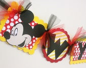 Mickey Mouse Birthday Decorations   Name Banner   Mickey Mouse Birthday Party   Mickey Mouse Party   Mickey Mouse Birthday Banner