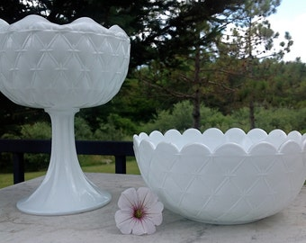 Vintage Milk Glass Quilted Dish Set