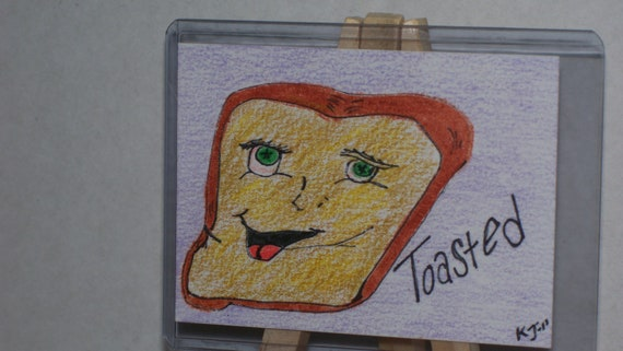 Toasted ACEO Original Humor Art Card Ink & Color Pencil Drawing