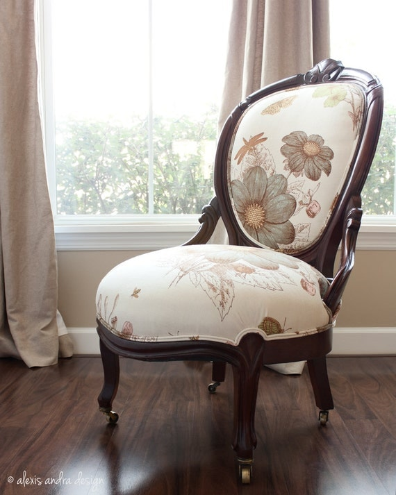 Hand Carved Antique Victorian Chair - classic upholstered unexpected cream vintage aqua green brown whimsical romantic country armchair