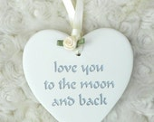 1x Ceramic Engraved Personalised Heart Pure White ideal as favors, favours, gift to guests, bridesmaid, page boy, flower girl, bride